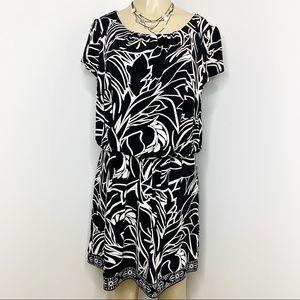 ALFANI Black & White Floral Print Blouson Dress M